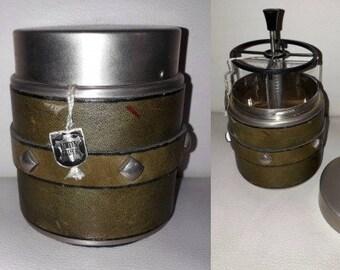 Unused Vintage Cigarette Dispenser 1950s 60s Round Olive Green Leather Silver Studs Tabletop Cigarette Holder NWT Erhard German Rockabilly