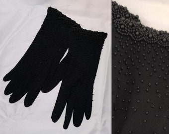 Vintage Beaded Gloves 1950s 60s Black Nylon Stretch Gloves Tiny Seed Bead Patterns Rockabilly to sz 7.5