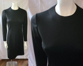 Vintage Little Black Dress 1960s Black Midlength Cocktail Dress Classic Mod Mrs. Robinson S chest 37 in.