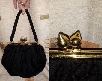 Vintage 1940s Purse Black Wool Top Handle Bag Oversize Gold Metal Clasp Satin Lining Ingber USA Art Deco Film Noir Rockabilly