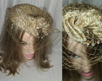 Vintage 1950s 60s Hat Small Round Gold Metallic Brocade Cocktail Hat Pearl Jewelry Ornament Net Veil