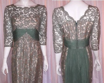 Vintage 1950s Dress Moss Green Chiffon Lace Cocktail Dress Nude Illusion Short Train Elegant Rockabilly USA S chest to 36 in.