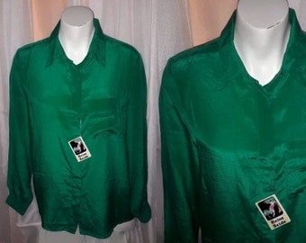 Unworn Vintage Blouse 1970s Green Silk Long Sleeve Blouse NWT German Boho M chest to 38 in.