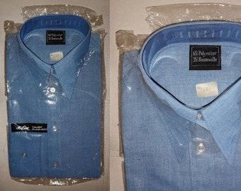 DEADSTOCK Men's Shirt 1970s Blue Cotton Blend Slim Fit Long Skeeve Shirt Large Collar Mod German sz. 40 M L