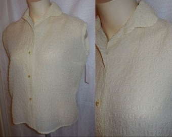 SALE Vintage 1950s Blouse Sheer Puckered Nylon Pale Yellow Sleeveless Blouse German Rockabilly Pinup L chest to 40 in
