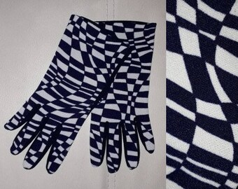 Vintage 1960s Gloves Dark Blue Purple Abstract Checkerboard Design Stretch Nylon Gloves German Mod Handschuhe sz 6 1/2 or so