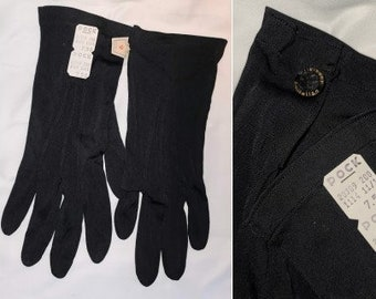 Unworn Vintage Gloves 1940s 50s Thin Black Nylon Formal Gloves Snap Wrists NWT German Art Deco Rockabilly sz 9