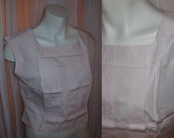 Vintage 1950s Blouse Light Pink Cotton Crop Top Pleat Detail Summer German Rockabilly M L chest to 39 in.