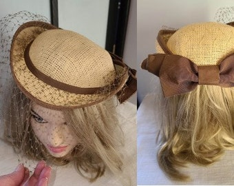 Vintage Straw Hat Small 1960s 70s Does 1930s Round Brown Hat Large Back Bow Fine Net Veil Sonni San Francisco Boho 19.5 in.