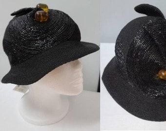 Vintage 1930s Hat Asymmetric Black Straw Cloche Hat Large Butterscotch Lucite Bead Ornaments Flapper Art Deco 23 inches