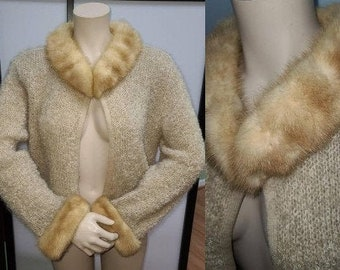 Vintage 1950s Sweater Beige Mohair Wool Open Cardigan Lush Mink Fur Collar and Cuffs Fur Sweater Embroidered Lining Classic Rockabilly M L