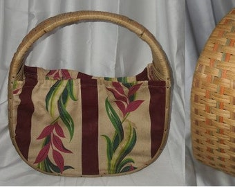 Vintage 1940s Purse Wicker Straw Floral Print Fabric Purse Knitting Bag Interesting Shape Art Deco Rockabilly USA some stains