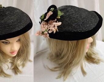 Vintage 1950s Hat Small Round Black Straw Tilt Hat Pink Fabric Flowers Velvet Trim Rhinestones Lady Dianne Rockabilly 23 in.