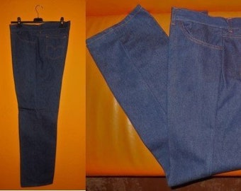 Unworn Vintage Jeans 1970s Denim 5 Pocket Dark Jeans Orange Stitching German Boho 40 x 33 waist 40 in.