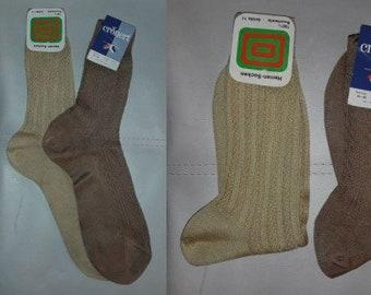 DEADSTOCK Vintage Men's Socks 2 Pair 1960s 70s Cotton Patterned Dress Socks Unworn NWT Gold Brown German Rockabilly Mod sz 41-42 11