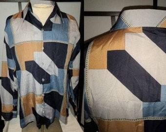 Vintage Men's Shirt 1970s Thin Geometric Pattern Silky Polyester Disco Shirt D'Avila M chest 41 in.