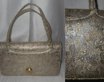Vintage Metallic Purse Small 1950s 60s Silver Gold Abstract Paisley Print Metallic Handbag Pocketbook Rockabilly Mod
