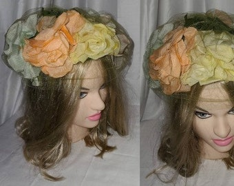 SALE Vintage 1950s Hat Large Pastel Roses Silk Flowers Church Lady Garden Party Rockabilly 19.5 inches