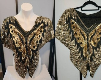 Vintage Sequin Top 1970s 80s Black Silk Gold Sequin Butterfly Midriff Top Trophy Boho Best Fits S / M