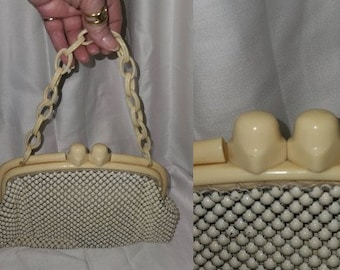 Vintage 1930s 40s Purse Whiting and Davis Cream Alumesh Metal Mesh Purse Huge Celluloid Clasp and Chain Art Deco