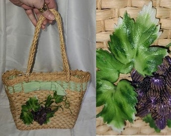 SALE Vintage Straw Purse 1950s 60s Woven Straw Tote 3D Grapes and Leaves Velvet Ribbon Cool Lining USA Rockabilly