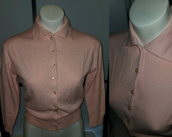 Vintage 1950s Sweater Light Pink Talbotts Taralan Full Fashioned Orlon Cardigan Sweater Rockabilly Pinup S chest 37 in.