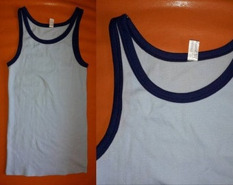 Unworn Men's Underwear 1970s Vintage Tank Top Undershirt Light Blue Helanca Nylon Dark Blue Trim Mod German sz 5 6 M