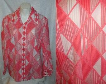 SALE Vintage 1960s Blouse Alex Coleman Thin Nylon Polyester Crepe Blouse Pink White Geometric Diamond Pattern Ultra Mod Op Art L