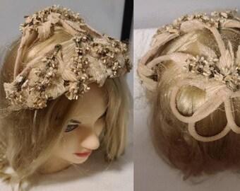 Vintage Cage Hat 1950s Asymmetric Velvet Wire Floral Cage Hat Rockabilly Pinup Wedding Bridal