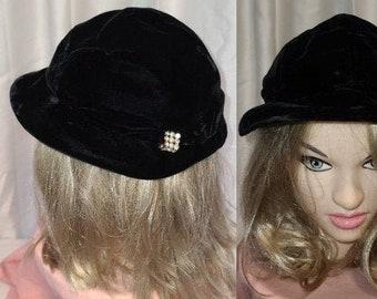 Vintage 1930s 40s Hat Black Velvet Small Brim Cocktail Hat Rhinestone Pearl Ornament Royce Exclusive Art Deco Film Noir 22 in.