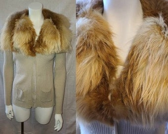 Vintage Fur Sweater 1970s Ribbed Beige Acrylic Cardigan Huge Red Fox Fur Collar Boho M chest 38 in.