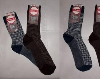 DEADSTOCK Vintage Men's Socks 2 Pair 1970s Patterned Wool Blend Dress Socks Unworn NWT Blue Brown German Rockabilly Mod sz 39-42 10-11