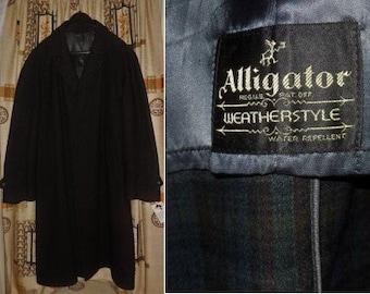 SALE Men's Vintage Overcoat 1950s Dark Gray Wool Coat Water Repellent Alligator Weatherstyle USA Rockabilly Overcoat L chest to 48 in.