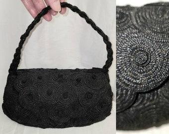 Vintage 1950s Purse Black Straw Rosette Handbag Josef Hand Made in Italy Rockabilly