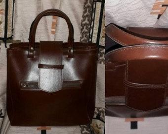 Vintage 1960s Purse Brown Vinyl Tote Bag Front Zipper Pocket Flap Closure German Mod Boho