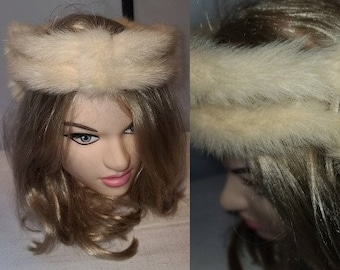 Vintage Fur Hat 1950s Cream Mink Fur Open Ring Hat Beresford Fur Crown Rockabilly Wedding Bridal 19 in.