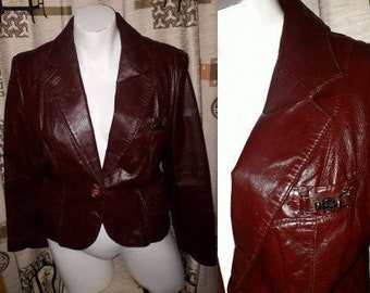 Vintage Leather Jacket 1970s Designer Etienne Aigner Oxblood Leather Blazer Jacket Hardware Logos Boho S chest to 37 in.