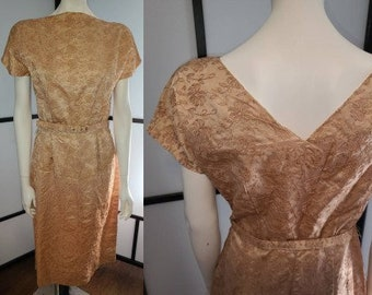 Vintage 1950s Dress Shell Pink Satin Wiggle Dress Allover Floral Embroidery Sleek Rockabilly M chest 38 in.