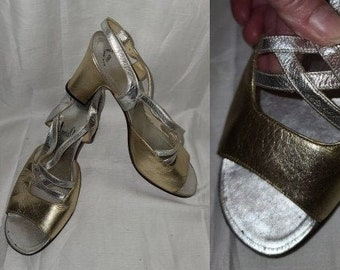 Vintage Dress Sandals 1960s 70s Gold Silver Metallic Leather Strappy High Heel Evening Sandals Amalfi Made in Italy Designer Boho 7 M
