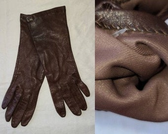 Vintage Leather Gloves 1990s Thin Midlength Dark Brown Leather Gloves Thin Lining Boho 6 1/2
