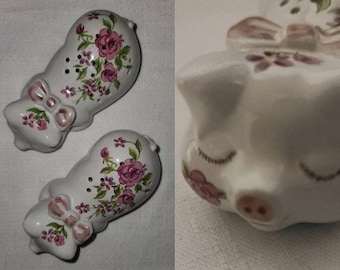 Pair of Vintage Avon Pampered Pig Pomanders Pomander Set 1978 Poupourri Holders Ceramic Scent Holders