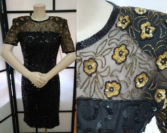 Vintage Sequin Dress 1990s Gold Black Sequin Beaded Silk Trophy Dress Adrianna Papell Evening US 6