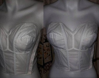 Unworn Vintage Bra 1950s Semi Sheer White Nylon Lace Strapless Bustier Bra NWOT German Rockabilly Pinup Wedding Bridal 38 85 B C