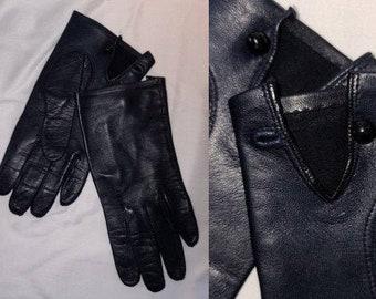 Vintage Kidskin Gloves 1950s Dark Navy Blue Soft Kidskin Leather Gloves Wrist Length Round Button Elegant Rockabilly sz 6.5 or so