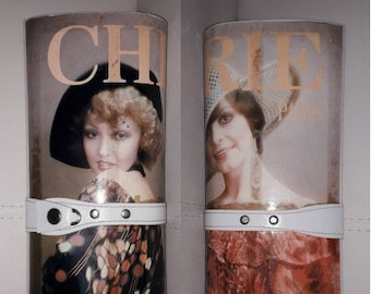 Vintage 1970s Purse Round Plastic Magazine Clutch Purse Boho Cherie European Magazine Hard Plastic Photo Clutch small issues