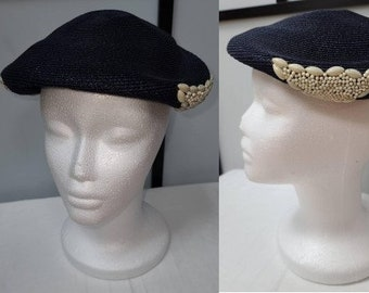 Vintage 1940s 50s Hat Small Round Dark Blue Straw Hat Beaded Ornaments Chic Rockabilly 22 in.