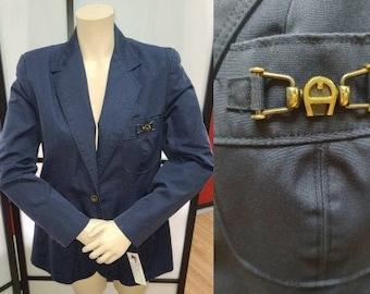 Vintage Etienne Aigner Blazer 1970s 80s Navy Blue Cotton Blend Jacket Metal Logo Career Boho M chest 39 in.