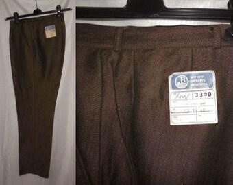 DEADSTOCK Vintage Men's Pants 1960s Trousers Brown Rayon Blend Dress Pants NWT Unworn German Rockabilly M 32 x 30