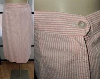 Vintage 1950s Skirt Pink White Striped Cotton Seersucker Fabric Lightweight Pencil Skirt Rockabilly Pinup S waist 26 in.