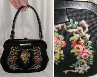 Vintage Needlepoint Purse 1950s Black Wool Petit Point Floral Rose Embroidered Tapestry Handbag Leather Trim Rockabilly Mod Boho